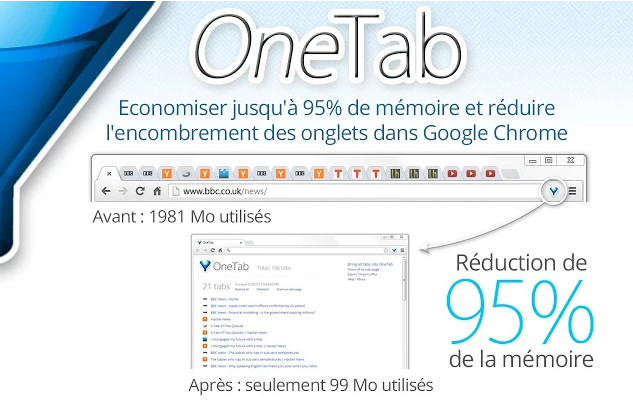 OneTab extension Firefox Chrome